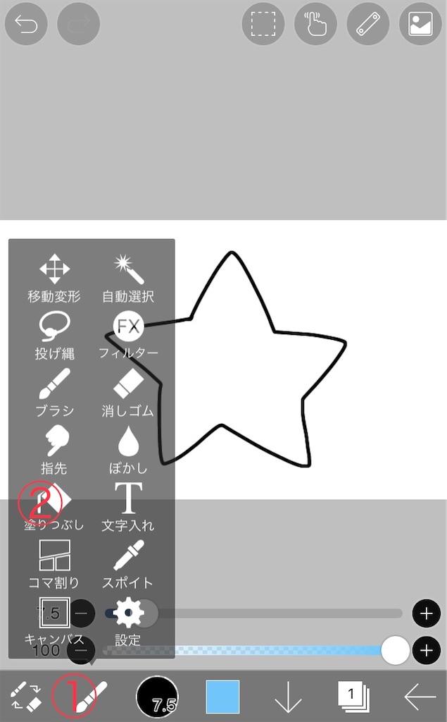 塗りつぶしツールの場所説明