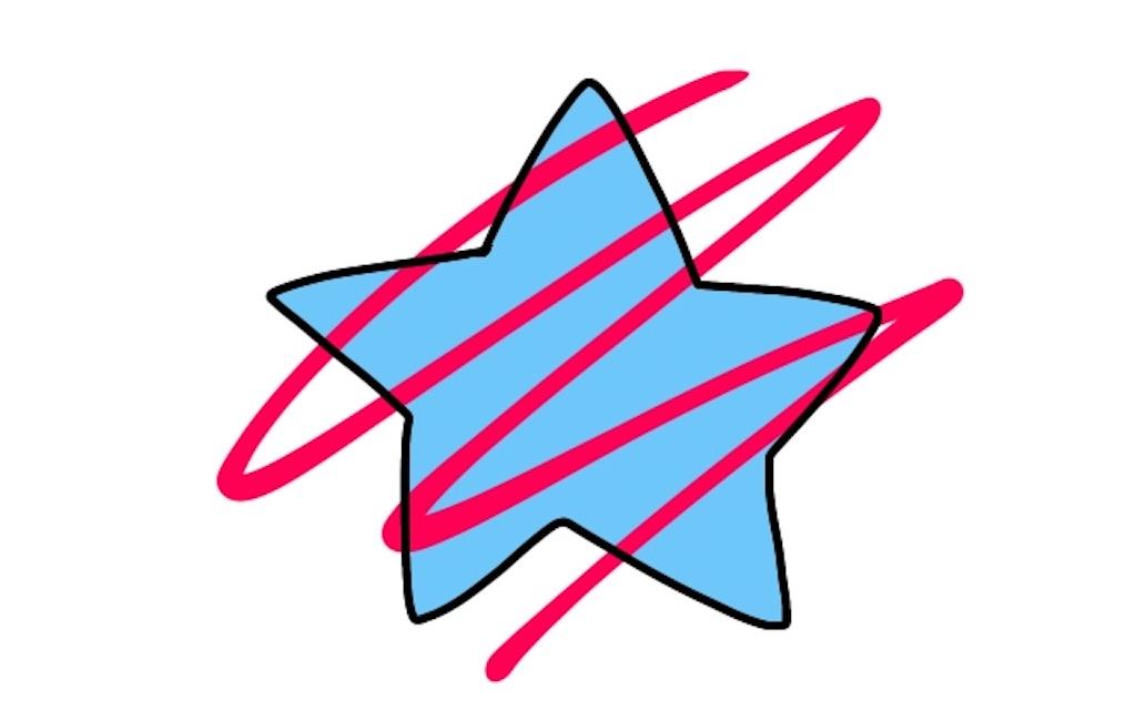青く色を塗った星の上から赤いペンで適当に線を引いたイラスト