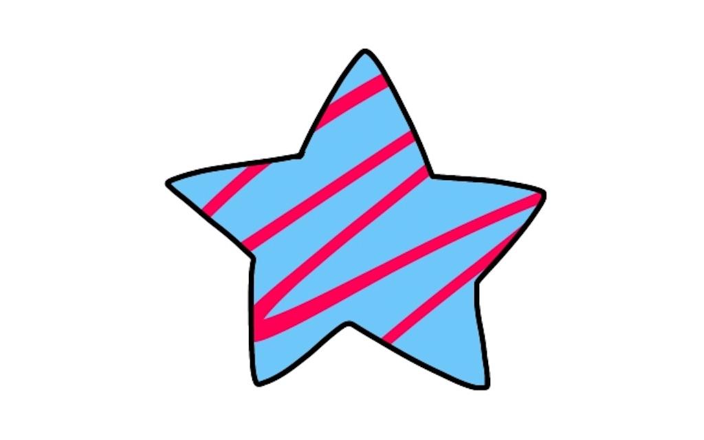 適当に引いた赤い線がベースにした青色からはみ出さずに塗れた星のイラスト