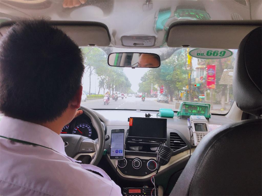 ダナンのタクシーの車内