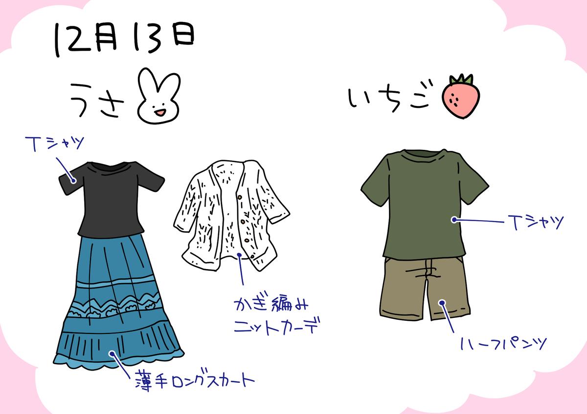 13日の服装イラスト