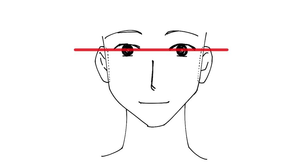 目と耳のつけ根の高さが同じ事を線で繋いで示したイラスト