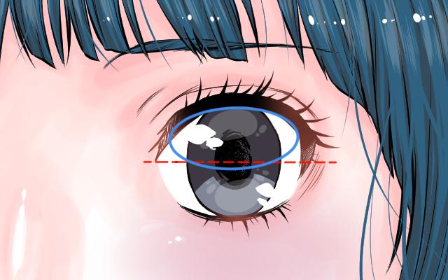 2等分にした瞳に楕円の参考線を引いたイラスト