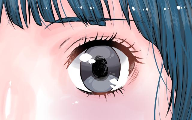 水彩ブラシで楕円の影を描いたイラスト