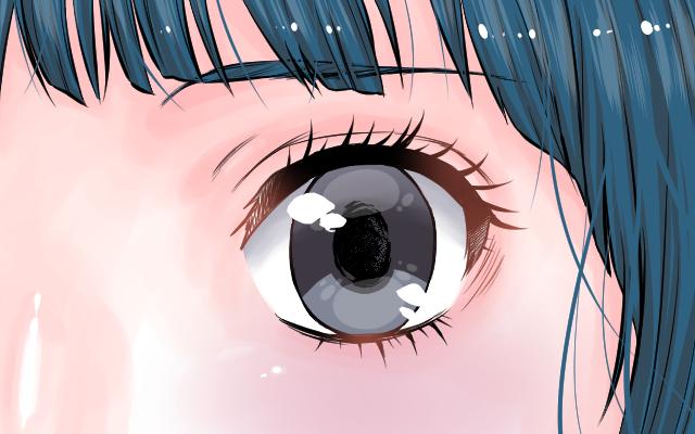 目の形に合わせて水彩ブラシで瞳に影を描いた、透明度調整後のイラスト