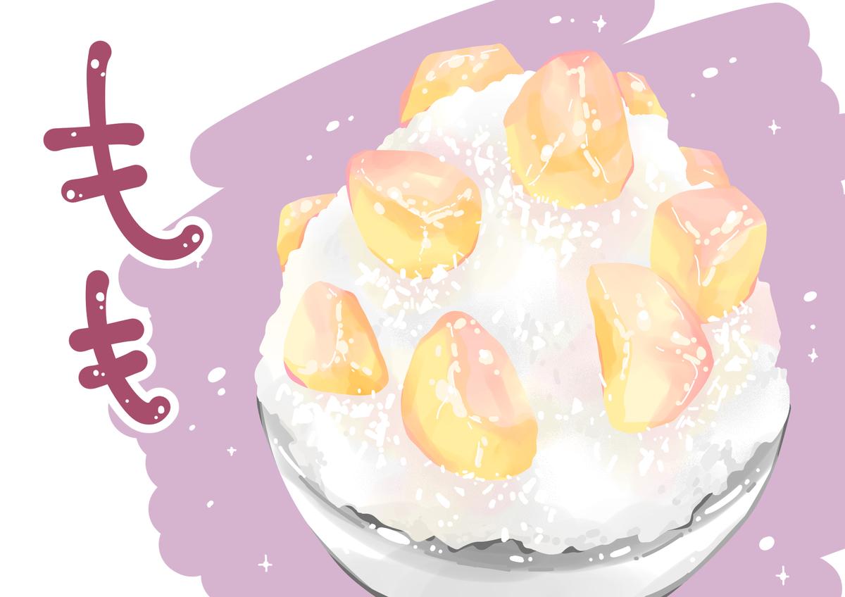 百笑の桃のかき氷のイラスト
