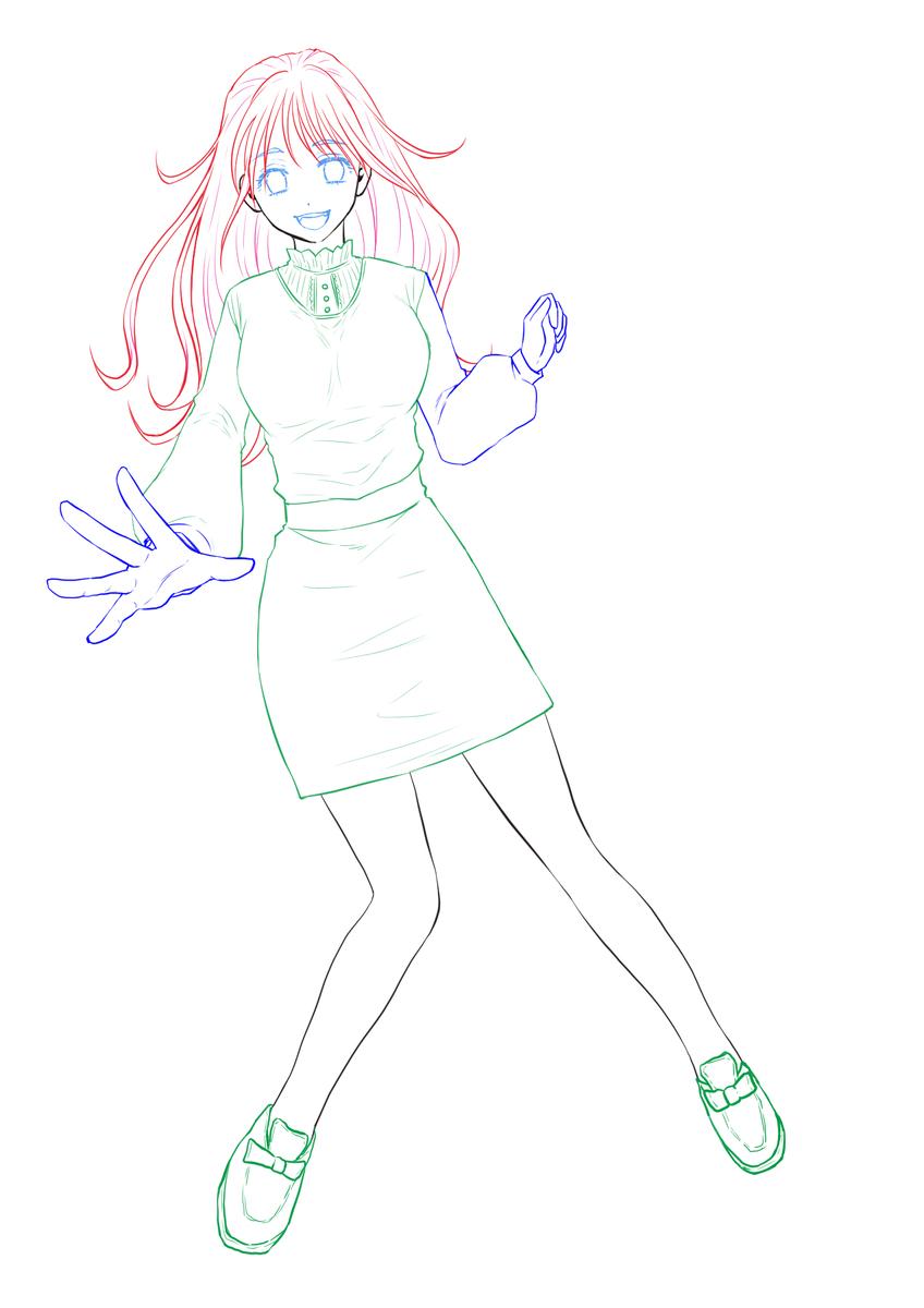 レイヤーを色分けした女の子のイラスト