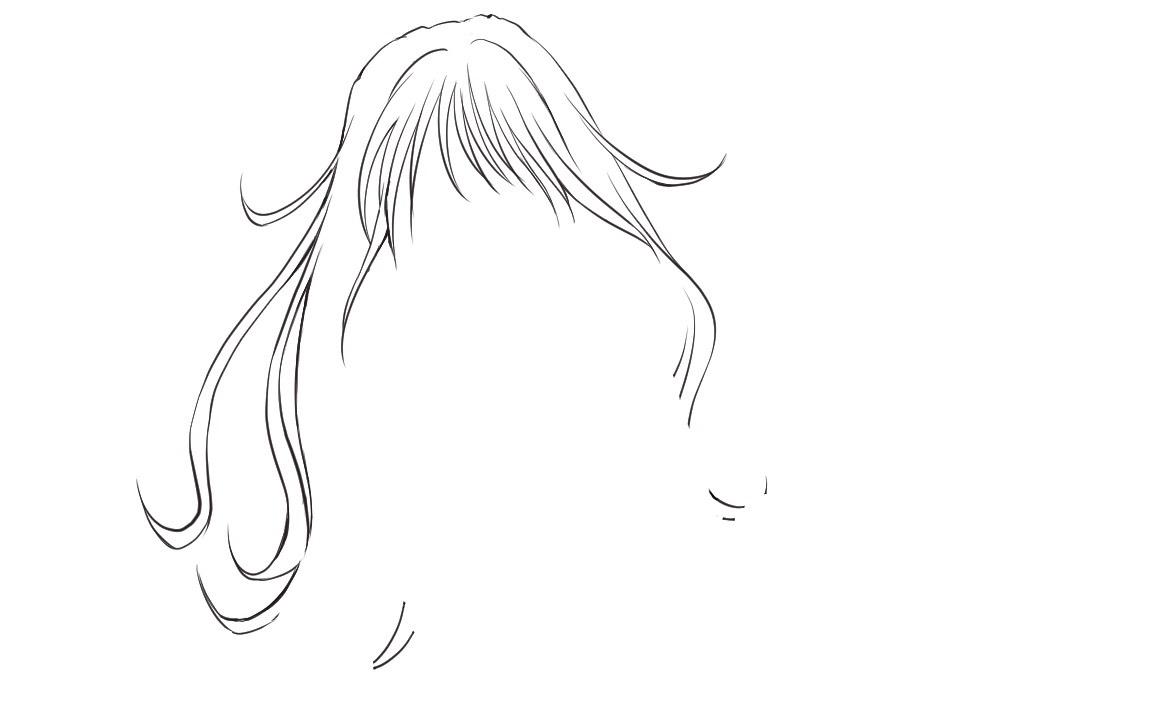 髪の毛の輪郭線の線画