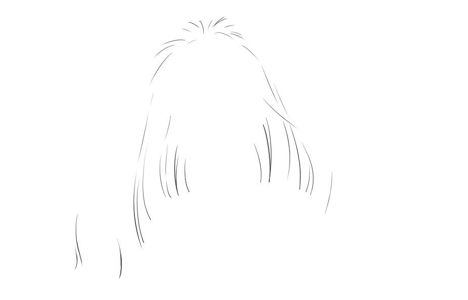 髪の細かい部分の線画