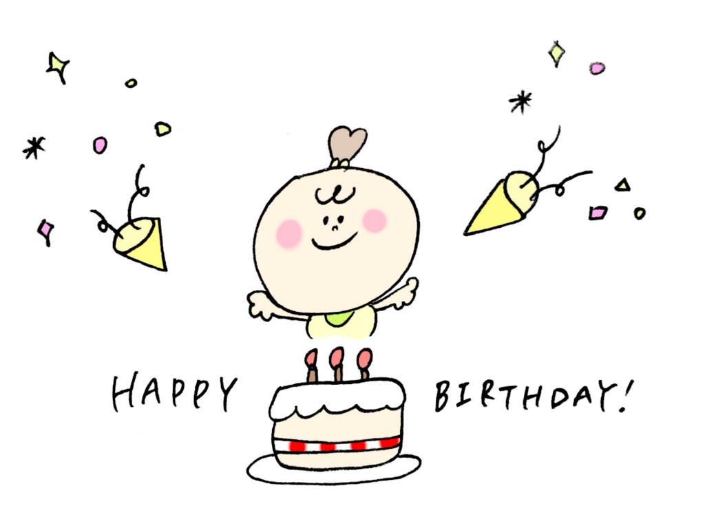 赤ちゃんとバースデーケーキのイラスト
