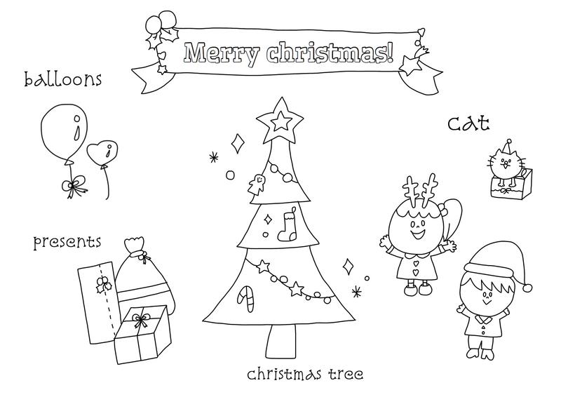 無料dlあり英語で塗り絵を楽しもうchristmasクリスマス編