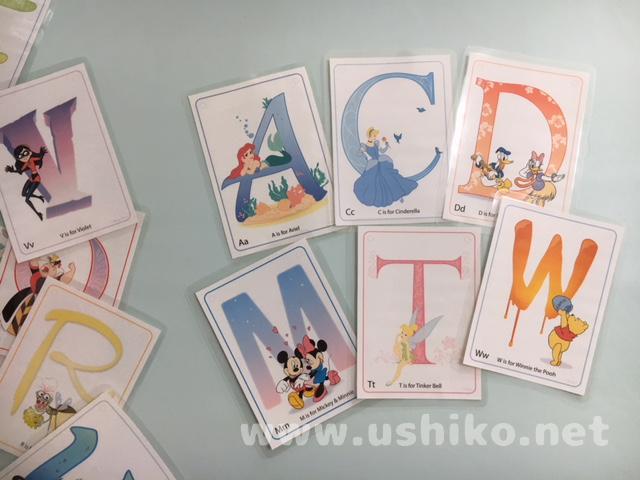 無料DLできるディズニーのアルファベットカード
