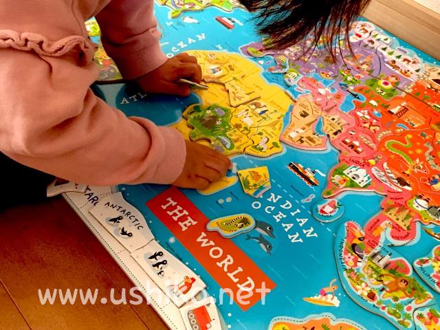 世界地図のパズルで地理につよくなる!2歳から楽しんでます♡