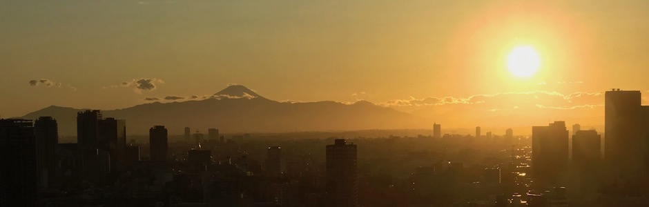 富士山夕景、品川から
