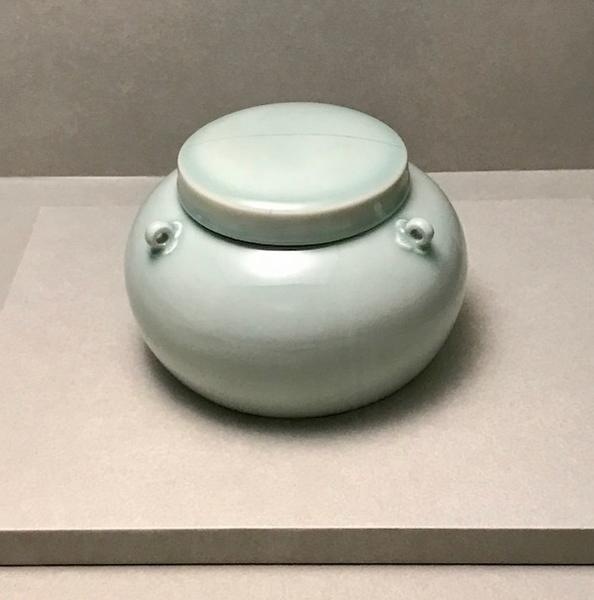 翠青釉三系盖罐
