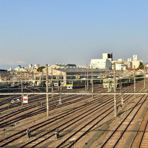 跨線橋から見た富士山