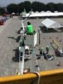 鴻巣市の防災訓練です。建柱車一台と、高所作業車4台集まりました。