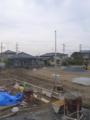 外灯取付ポールも建って、モルタル基礎まで打ち終わりました。