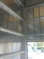 倉庫に変更で、内装入るそうなので、ホールソーで穴あけ、配線してお