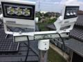 上で配線通線完了、LED投光器の調整中の絵。