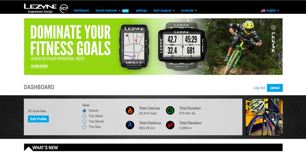 LEZYNE GPS ROOT ダッシュボード