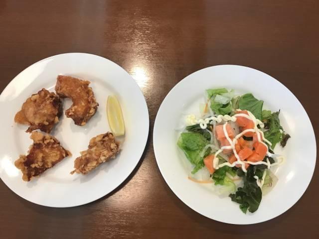 若鶏の唐揚げとサーモンマリネ