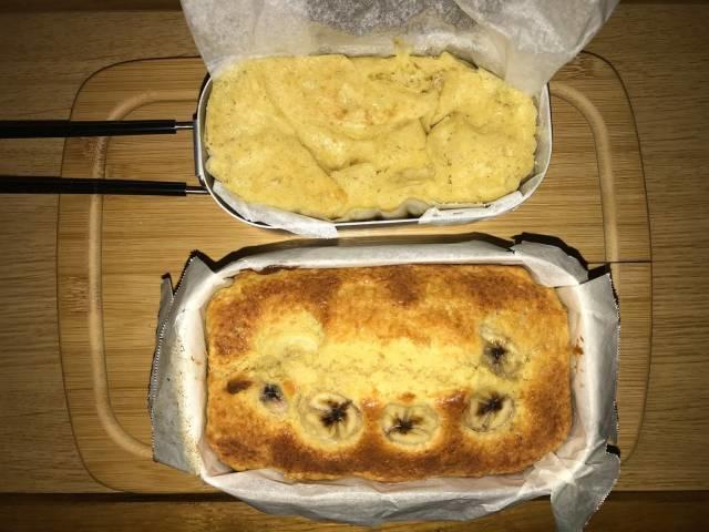 焼き上がったメスティン&オーブンのパウンドケーキとダイソーメスティン&固形燃料のパウンドケーキ