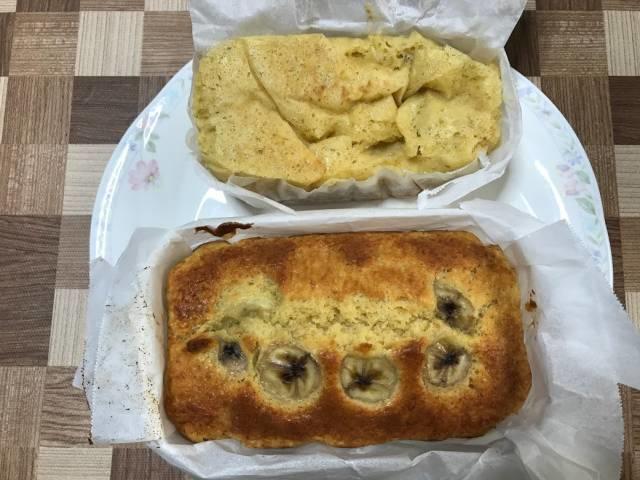 お皿に出したメスティン&オーブンのパウンドケーキとダイソーメスティン&固形燃料のパウンドケーキ