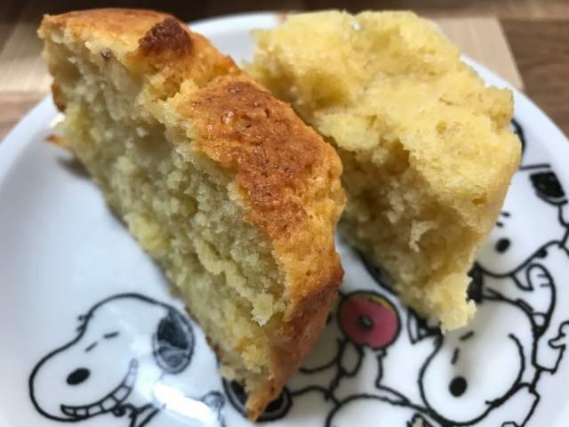 カットしたメスティン&オーブンのパウンドケーキとダイソーメスティン&固形燃料のパウンドケーキ