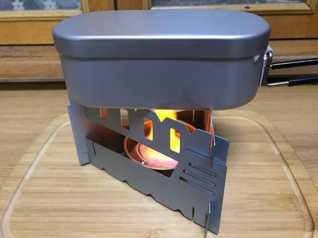 固形燃料で焼く