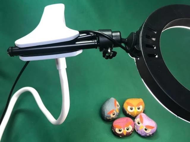 スマホ用フレキシブルアームで「LEDリングライト30」を使う