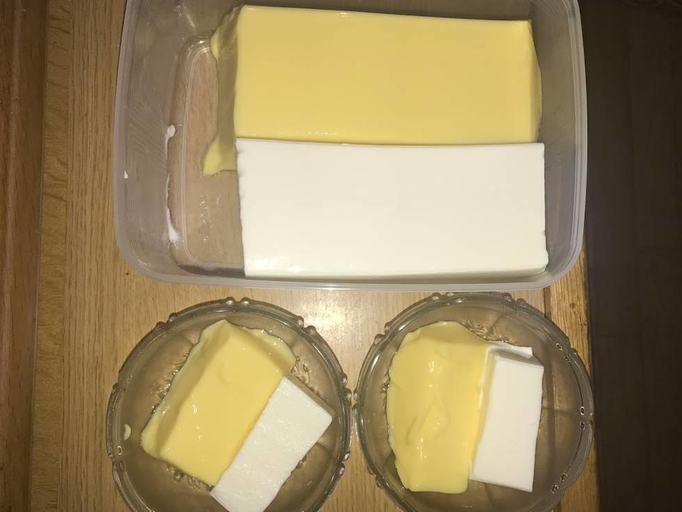 カスタードプリンとレアチーズ