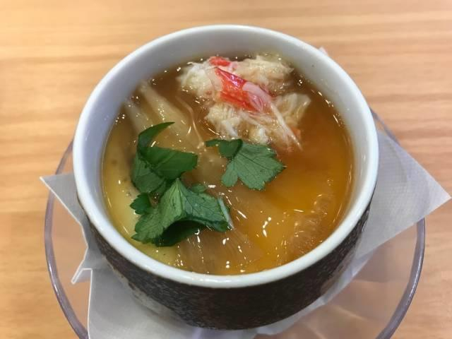 「上海風フカヒレと蟹餡かけ茶碗蒸し」