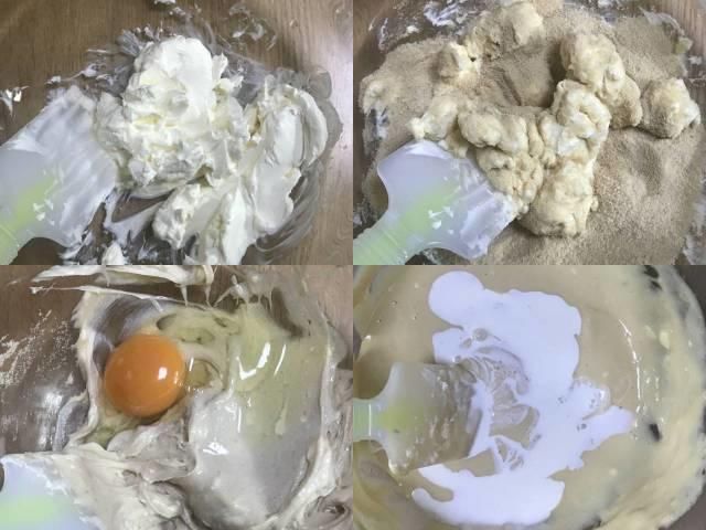 クリームチーズ、砂糖、卵、生クリームを順番に入れてかき混ぜる