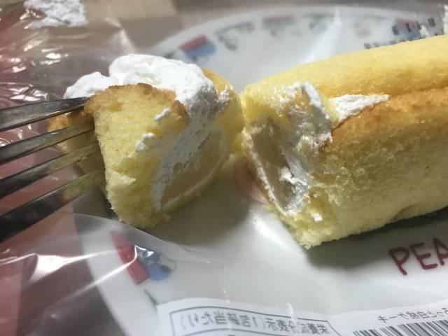 「ごろっと白桃ケーキ」の断面