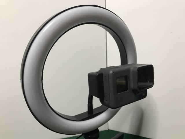 「LEDリングライトPREMIUM」へのGoProの装着