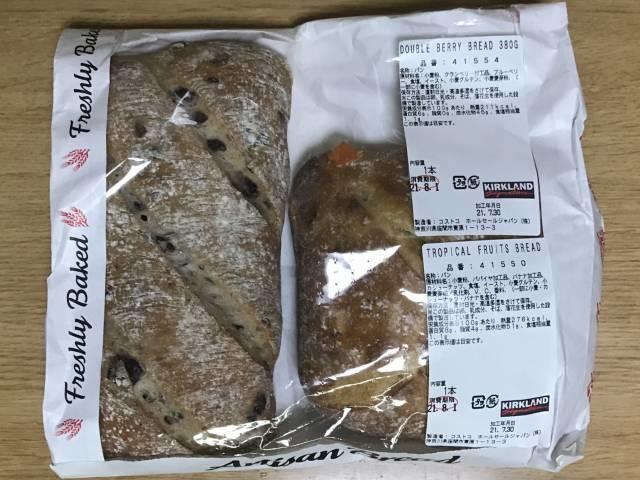 「ダブルベリーブレッド」と「トロピカルフルーツブレッド」のパッケージ