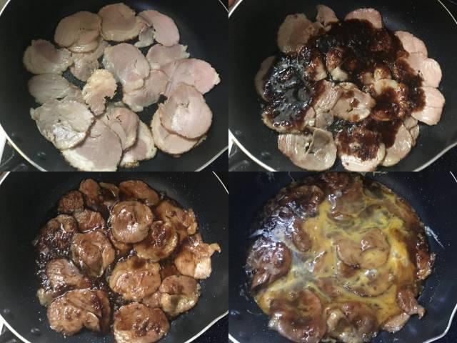 スライスした焼豚をタレで炒め卵を投入