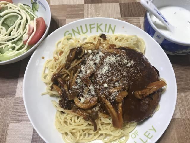 「大豆ハンバーグスパゲティ」の完成