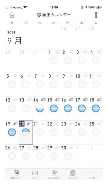 「かんたん血圧日記」のカレンダー画面