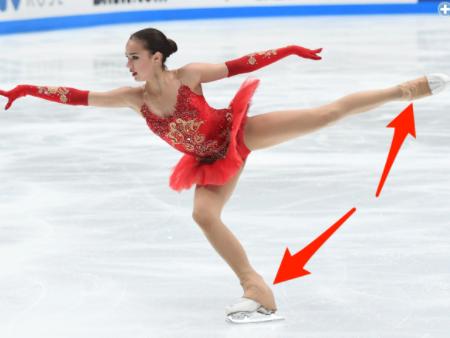 フィギュアスケートのタイツを靴...