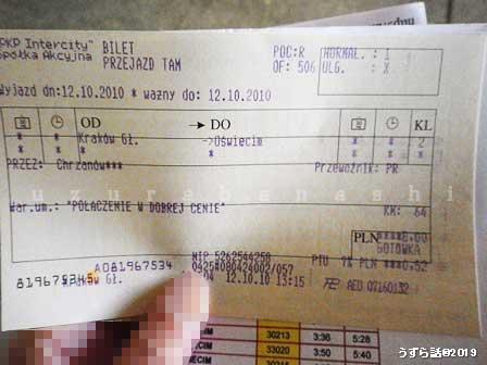 オシフェンチム行きの切符