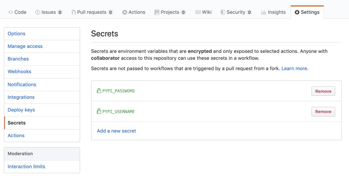 repo内の Settings > Secrets からユーザ名とパスワードを追加する。