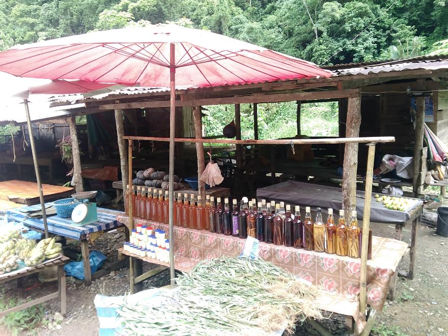 バンビエンから40分の村、ファホンではちみつを買う