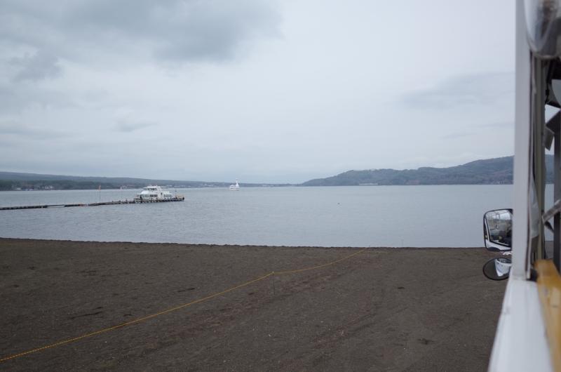 河口湖湖畔に到着