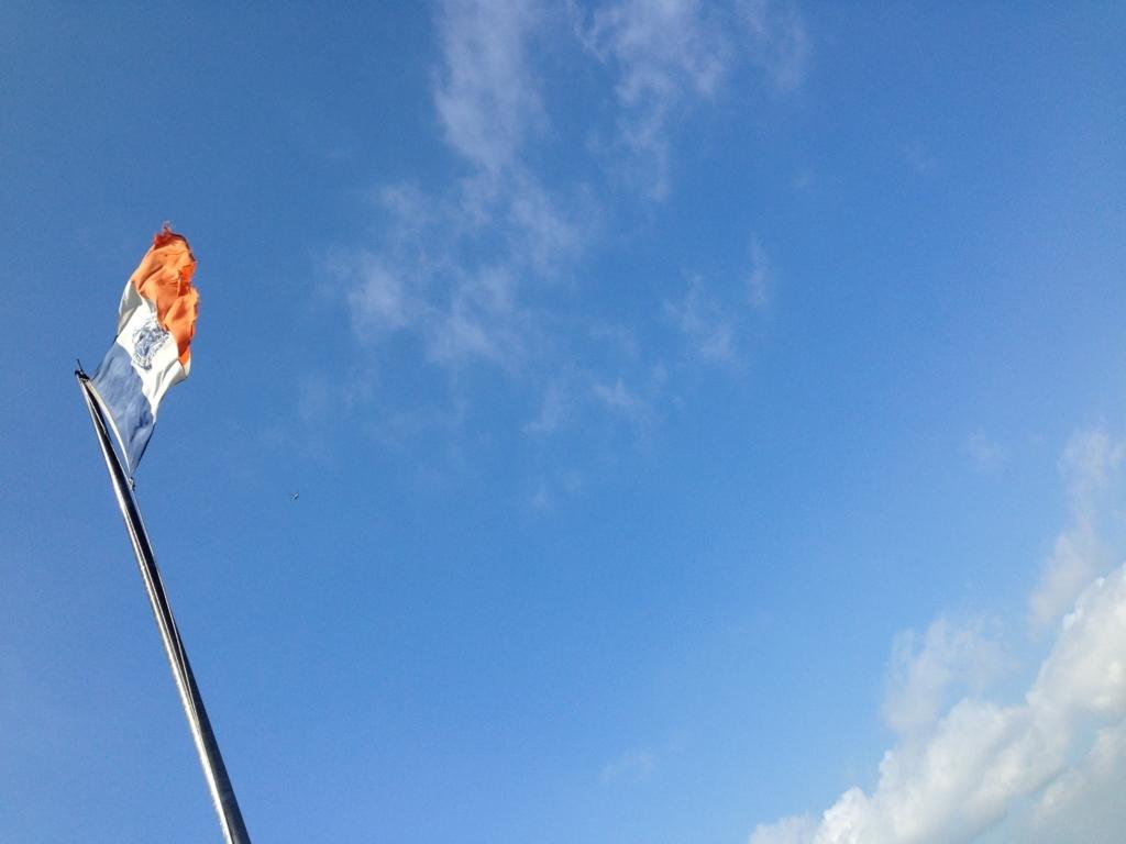ニューヨークフェリー上でなびく旗