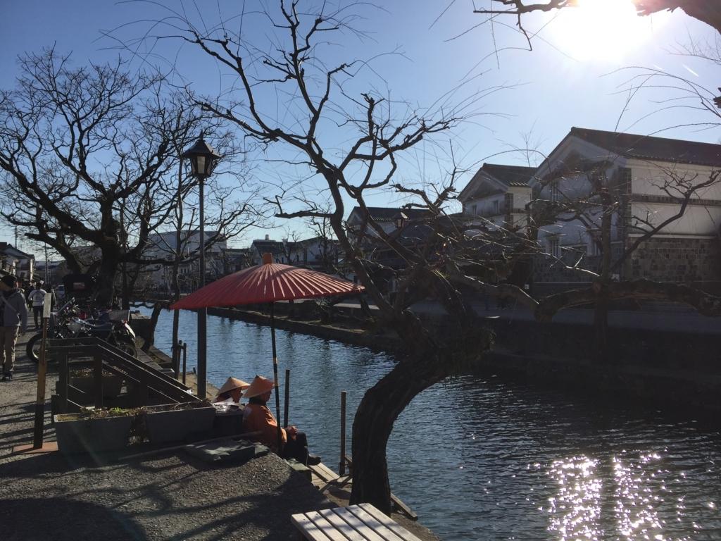 岡山県倉敷の休憩中の船頭さん