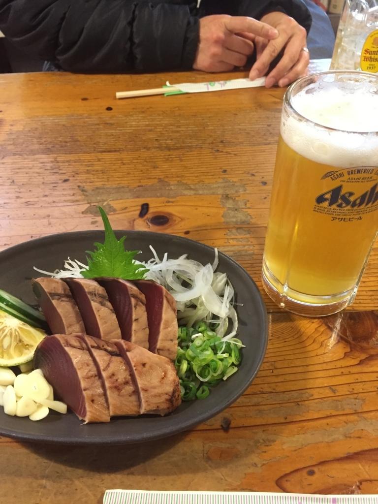 高知県ひろめ市場で食べたカツオのたたきとゆずビール
