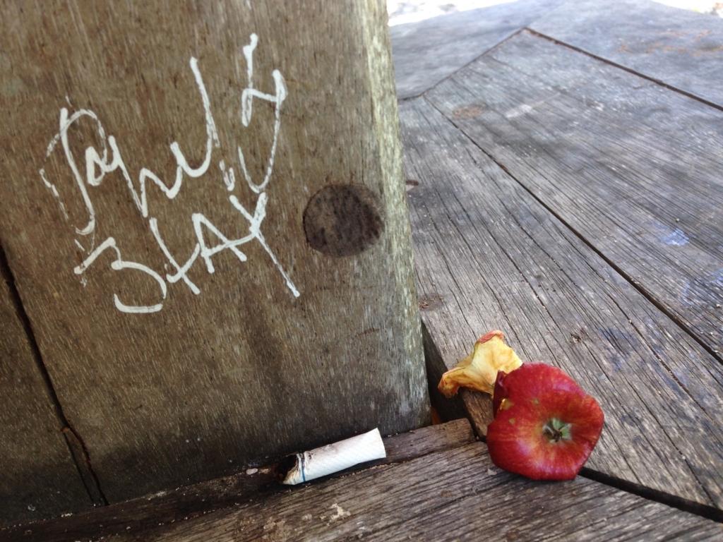 ニューカレドニアのビーチサイドにあったタバコと食べかけのリンゴ