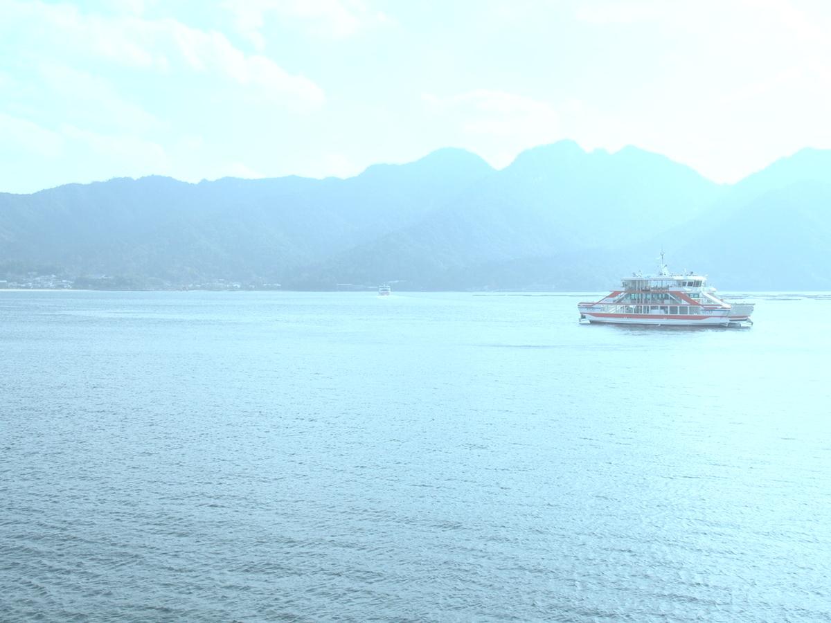 広島県宮島の船から見た景色